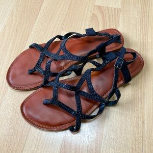Sparkly Black Strappy Sandals